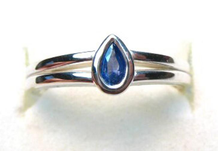 Montana Yogo Sapphire Pear Bezel Silver Ring