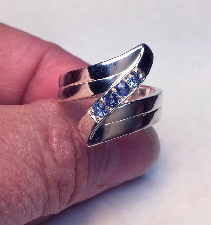 #64 -  Montana Yogo Sapphire 4 Stone Z Ring