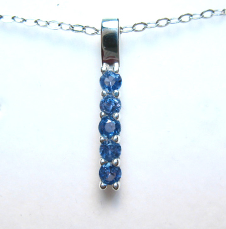 Montana Yogo Sapphire 5 Stone Bar Sterling Silver Pendant