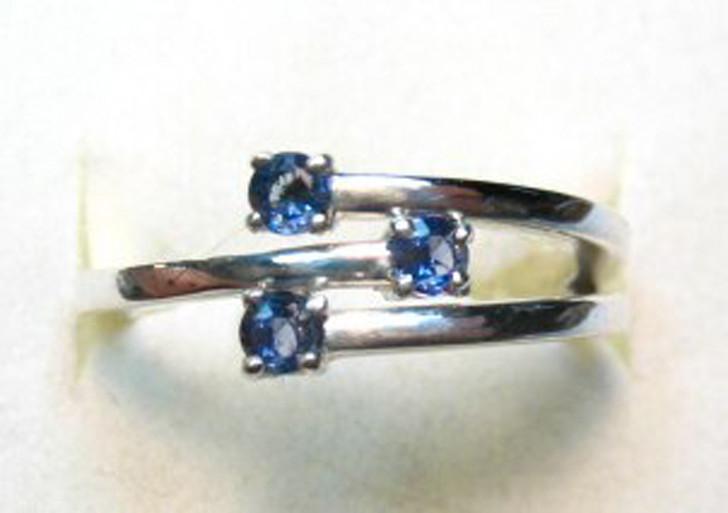 Montana Yogo Sapphire 3 Stone Freeform Ring Sterling Silver