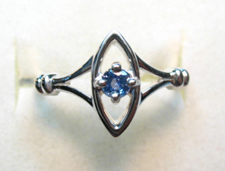 Montana Yogo Sapphire Round in Marquise Ring Sterling Silver