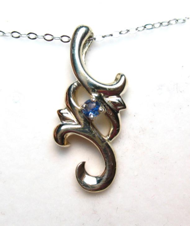 Montana Yogo Sapphire Fleur Sterling Silver Pendant