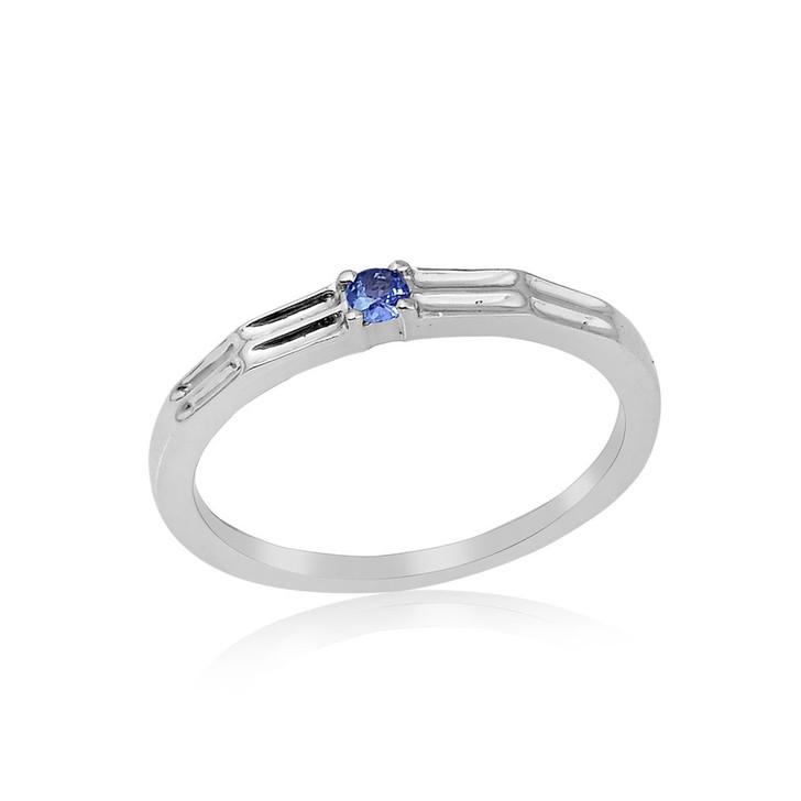 Montana Yogo Sapphire Single Stone Band Ring Sterling Silver