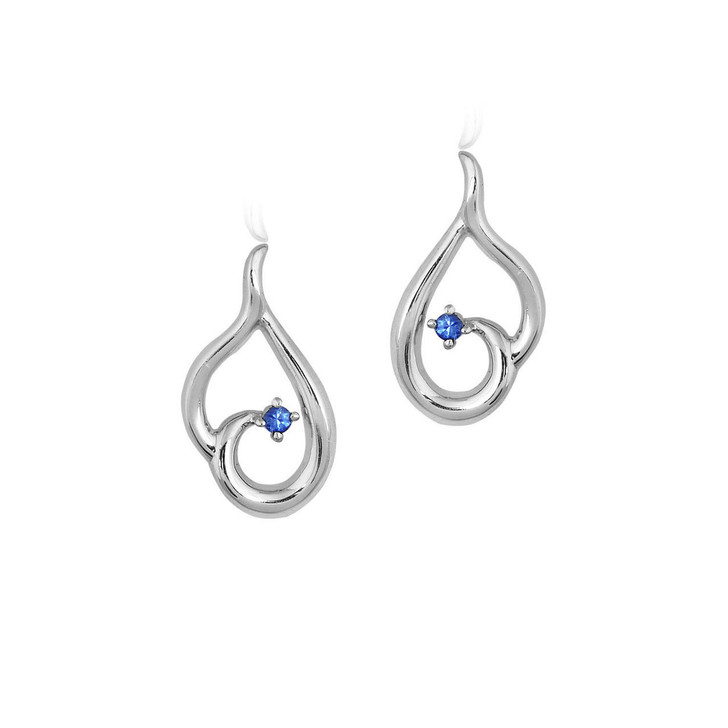 Montana Yogo Sapphire Inverted Heart Post Earrings Sterling Silver