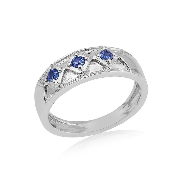 Montana Yogo Sapphire Round in Diamond 3 Stone Band Sterling Silver Ring