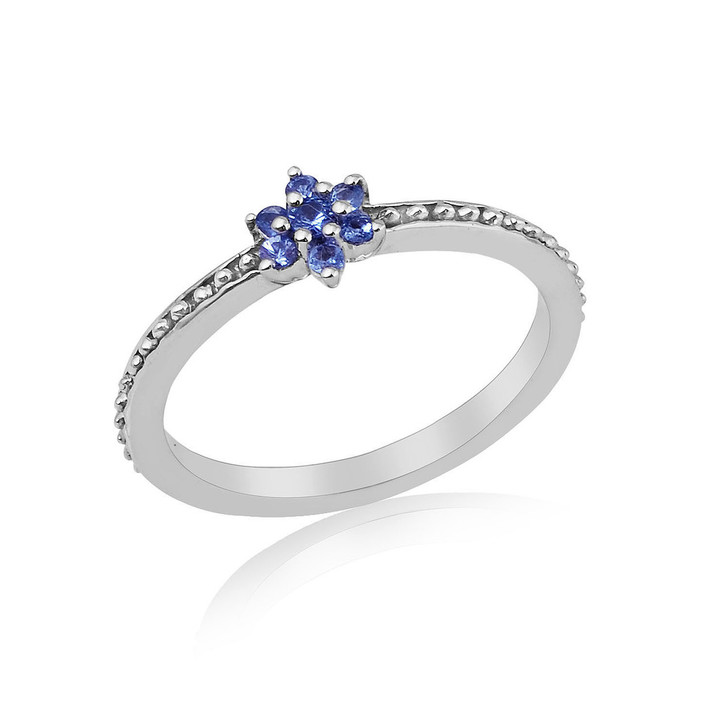 Montana Yogo Sapphire Flower Ring Sterling Silver Ring
