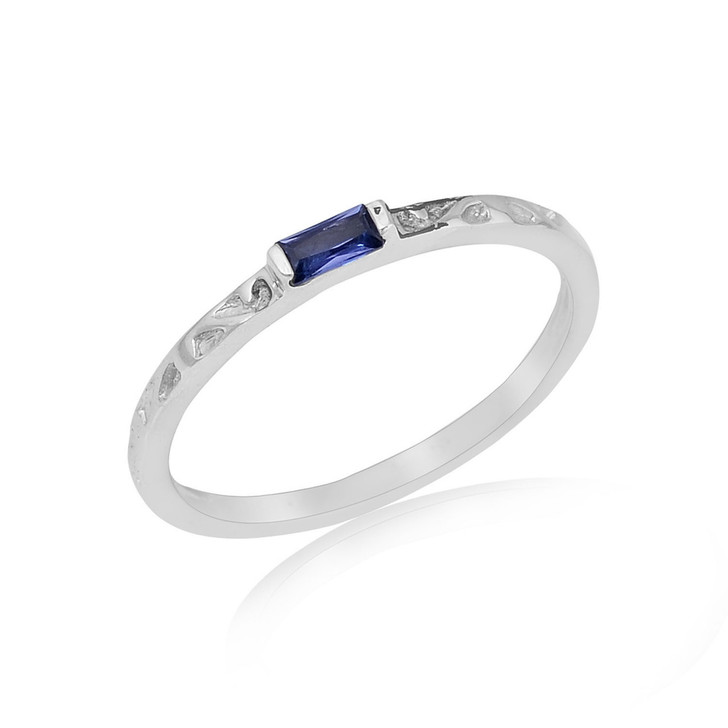 #85 - Montana Yogo Sapphire East West Baguette Sterling Silver Ring