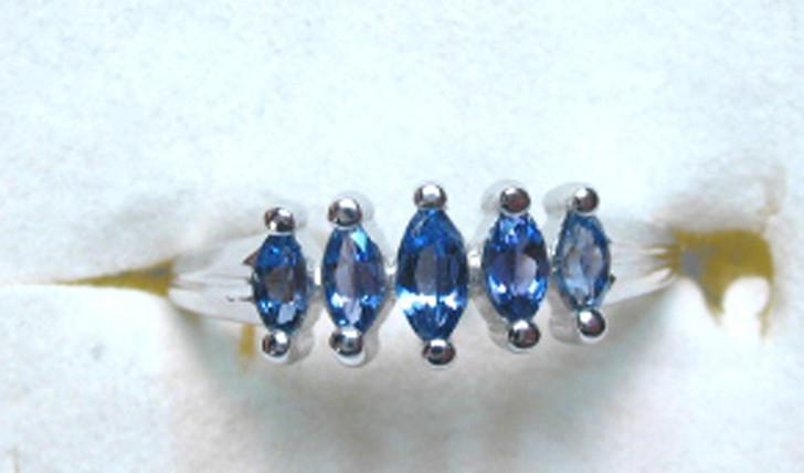 Montana Yogo Sapphire 5 Stone Marquise Ring .46 ct 14KW