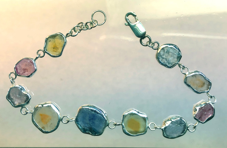 "Montana Sapphire Natural Crystal Bracelet Sterling Silver  6 7/8"" 10 stones"