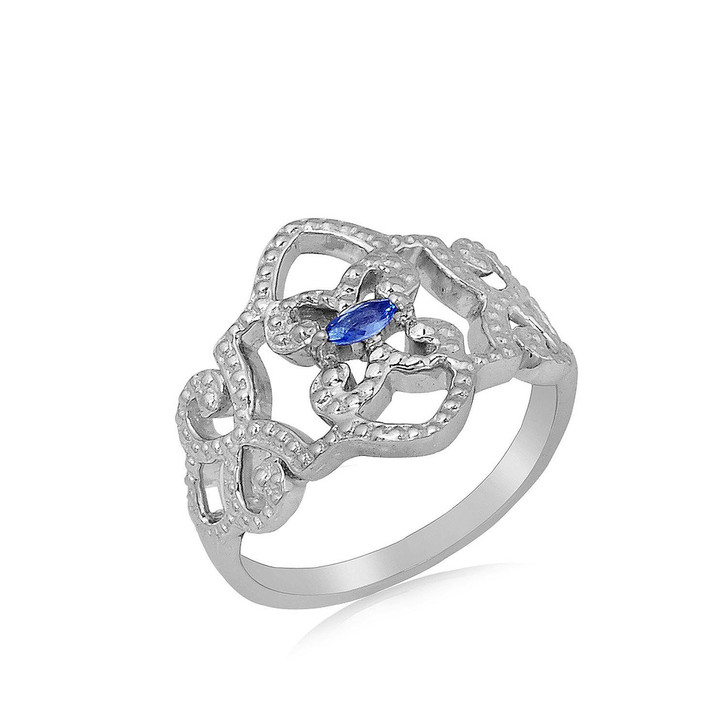 #92 - Montana Yogo Sapphire Marquise Fancy Sterling Silver Ring