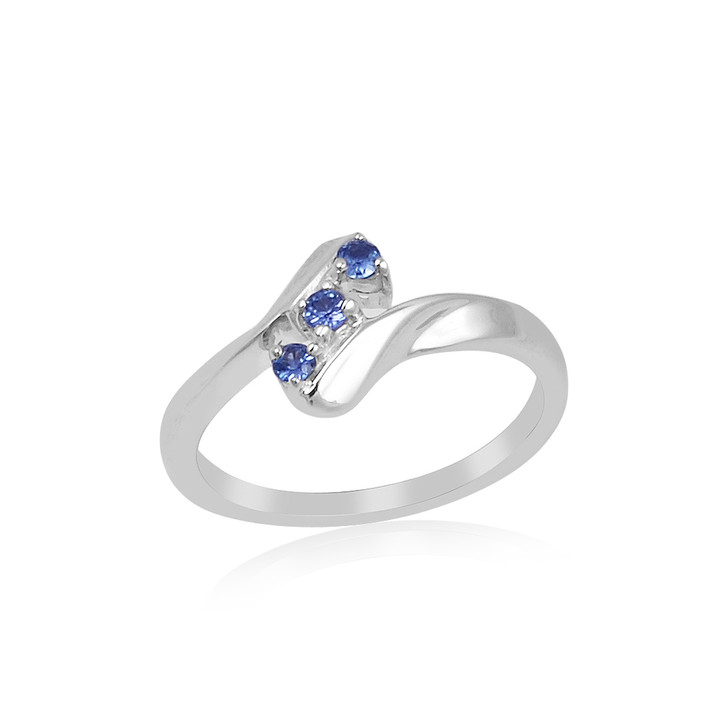 #93 - Montana Yogo Sapphire 3 Stone 2mm Bypass Sterling Silver Ring