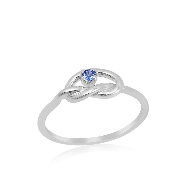 #94 - Montana Yogo Sapphire Knot Sterling Silver Ring