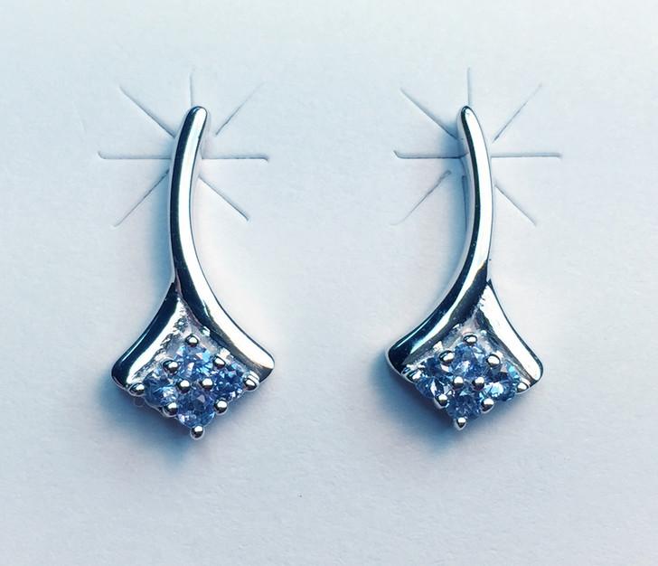 Montana Yogo Sapphire 4 Stone Post Earrings Sterling Silver