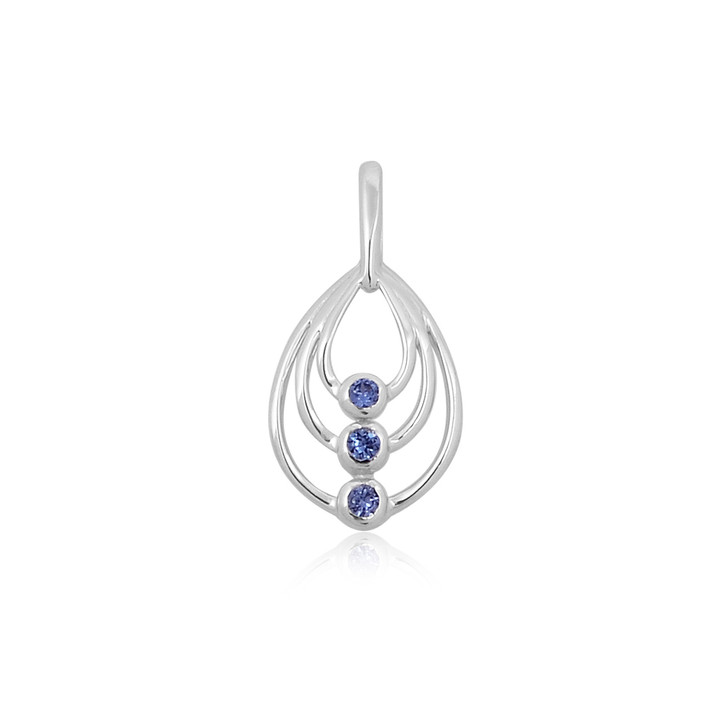 #56 -  Montana Yogo Sapphire 3 Stone Bezel Set Sterling Silver Pendant Necklace