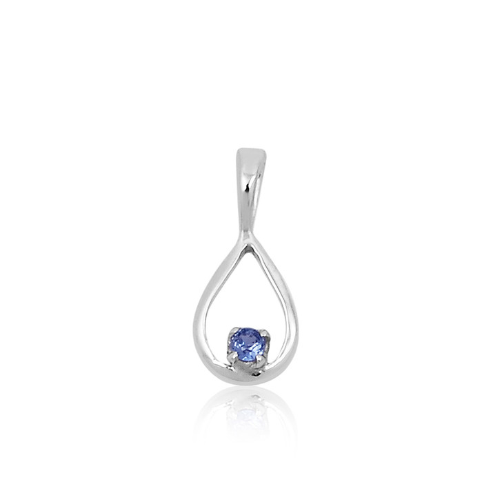 #57 -  Montana Yogo Sapphire Round in Pear Shape Pendant Necklace Sterling Silver