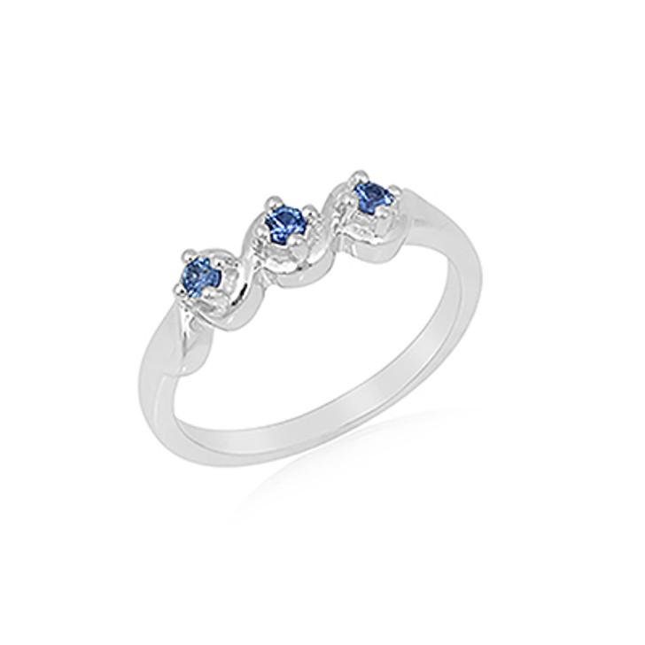 Montana Yogo Sapphire 3 Stone 14K White Gold Ring