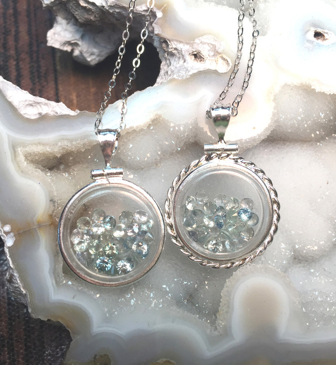 Montana Sapphire Locket Pendant with Faceted Stones