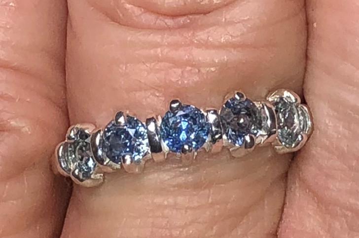 Montana Sapphire  5 Stone Decco Band Ring