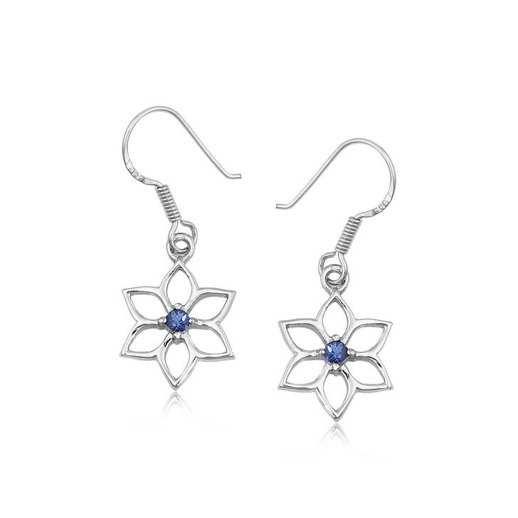 Montana Yogo Sapphire Snowflake Flower Earrings Sterling Silver