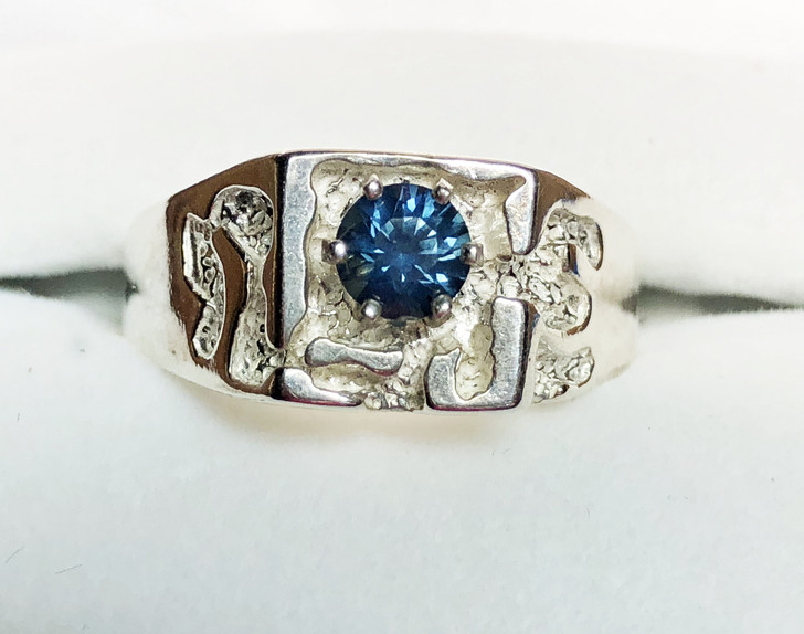 Montana Sapphire 6 Prong Men's Nugget Ring 5mm
