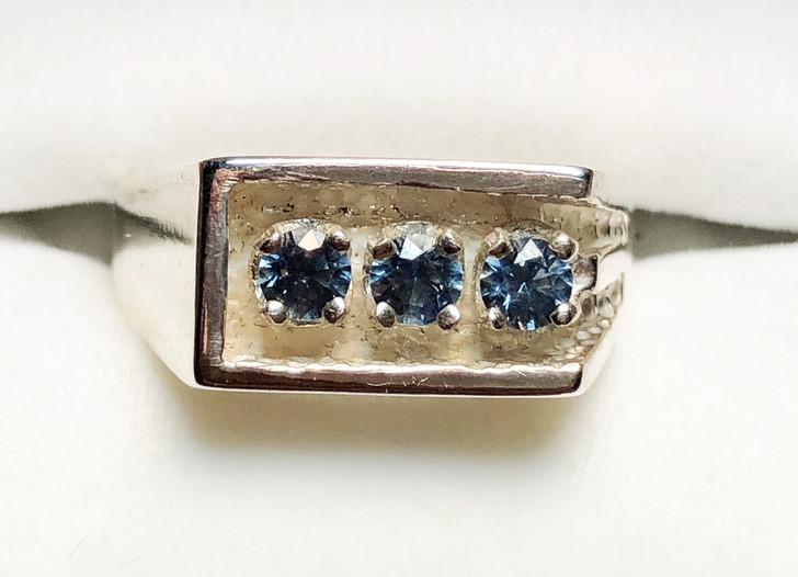 Montana Sapphire 3 Stone Men's Ring