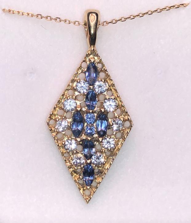 Montana Yogo Sapphire 14K Gold Diamond Shape Pendant