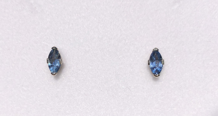 Montana Yogo  Sapphire Marquise Earrings 14K White Gold