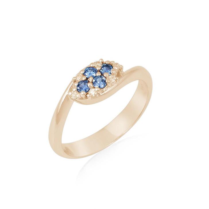MONTANA YOGO SAPPHIRE FOUR ROUNDS & DIAMOND BYPASS RING 14K