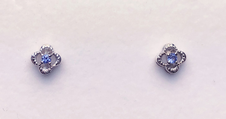 Montana Yogo  Sapphire Round in Clover Earrings Sterling Silver