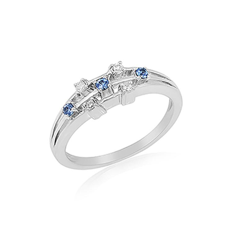 Montana Yogo Sapphire & Diamond Open Band Ring 14K White Gold