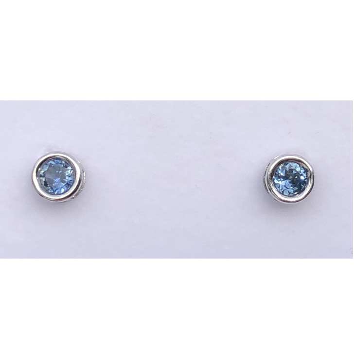 Montana Sapphire Bezel Set Earrings in Sterling Silver