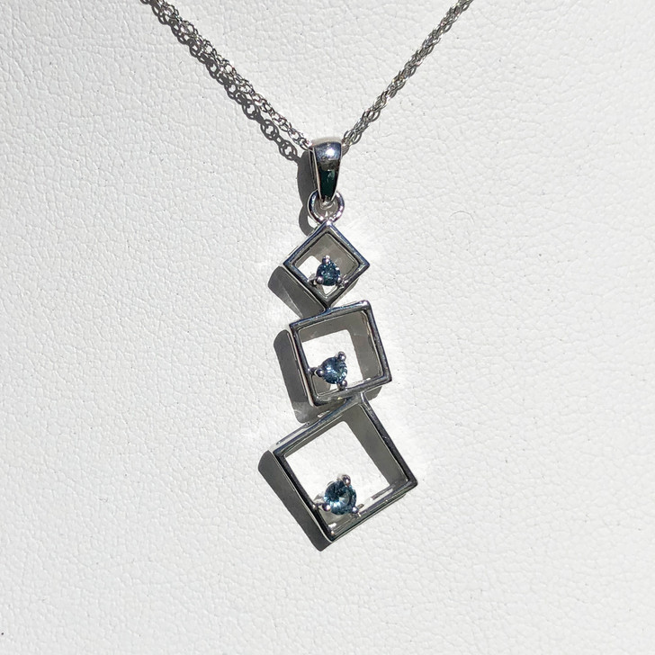 Montana Sapphire Round in Square 3 Stone Pendant in Sterling Silver