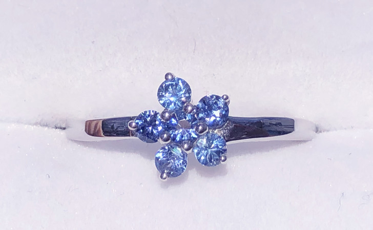 Montana Yogo Sapphire Six Stone Flower Sterling Silver Ring