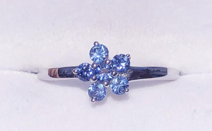 Montana Yogo Sapphire Six Stone Flower Sterling Silver Ring
