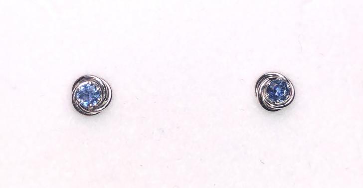Montana Sapphire Knot Earrings in Sterling Silver