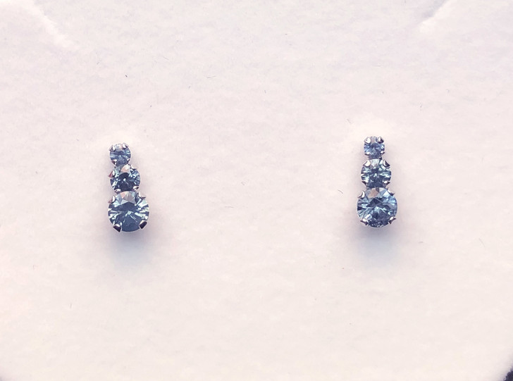 Montana Sapphire 3 Stone 4 Prong Post Earrings 1 ct total