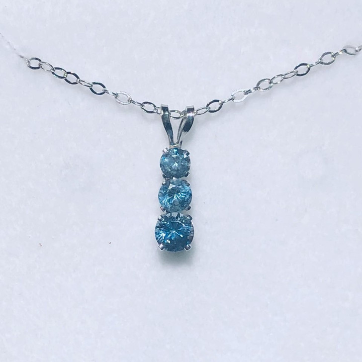 Montana Sapphire 3 Stone 4 Prong Pendant