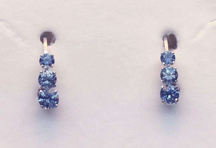 Montana Sapphire 3 Stone 4 Prong Leverback Earrings 1.28 ct total