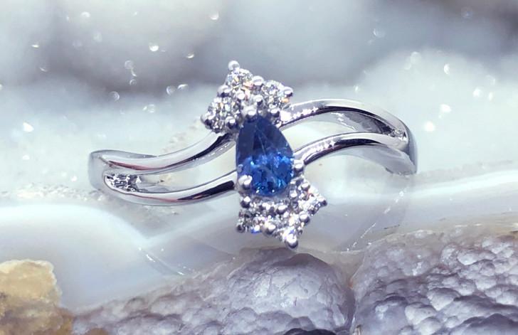 Montana Yogo Sapphire Pear & Diamond 14K White Gold Ring