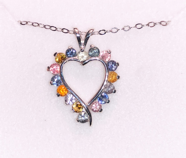 # 32 - Montana Sapphire 16 Stone Heart Pendant Multi Color or Blue