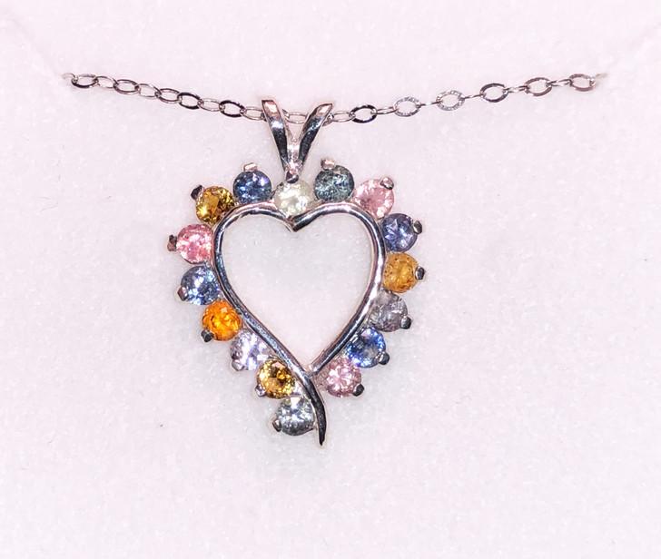 # 32 - Montana Sapphire 16 Stone Heart Pendant Necklace Multi Color or Blue