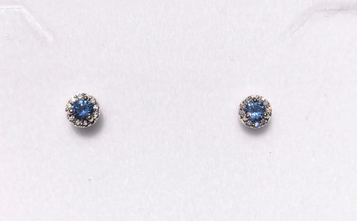 Montana Yogo Sapphire & Diamond Halo Stud Earrings .28 ct 14K White Gold