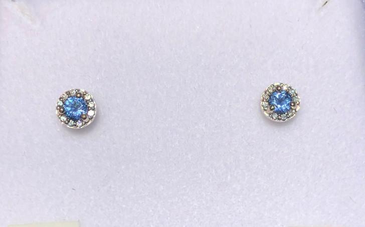 Montana Yogo Sapphire & Diamond Halo Stud Earrings .38 ct 14K White Gold