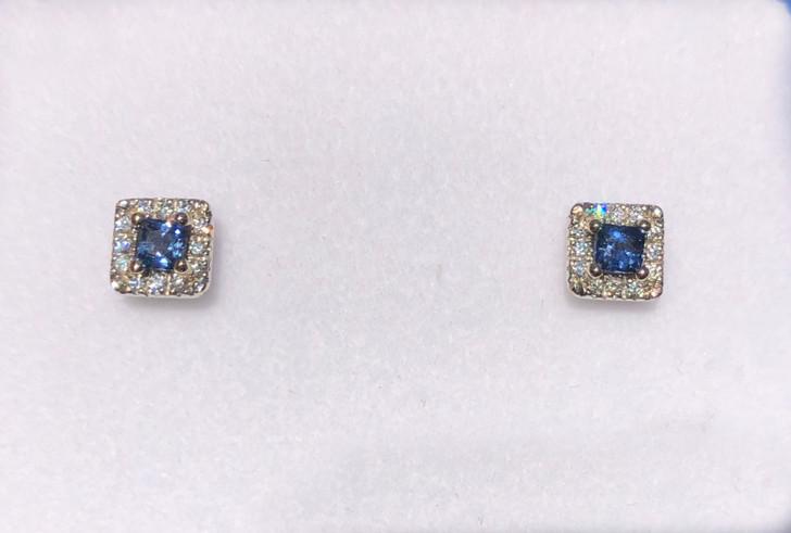 Montana Yogo Princess Cut Sapphire & Diamond Halo Stud Earrings .42 ct 14K White Gold