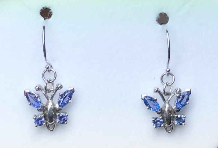 Montana Yogo Sapphire Butterfly Earrings .98 ct 14K White Gold