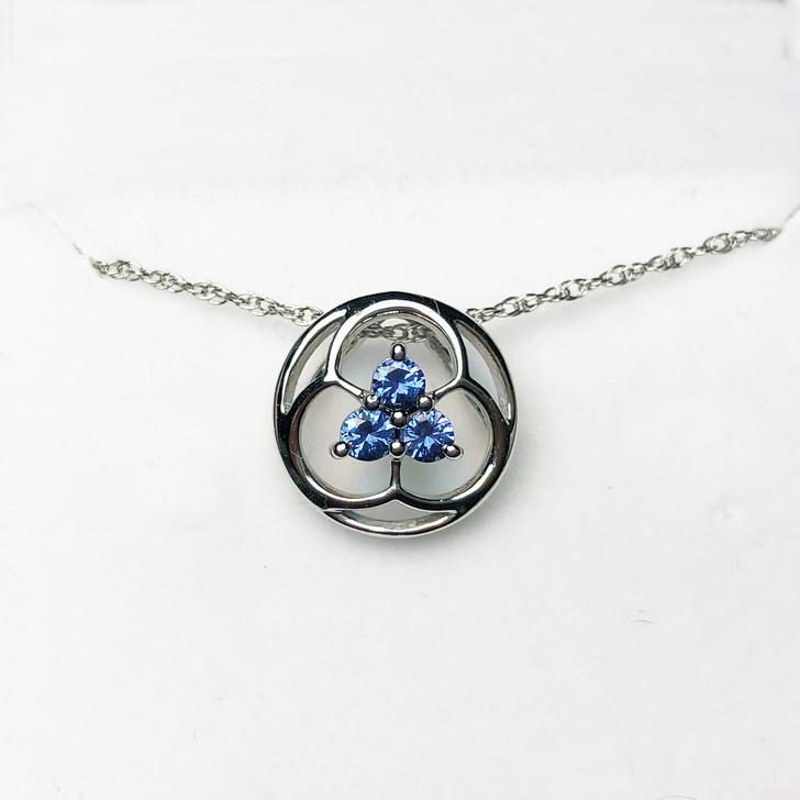 Montana Yogo Sapphire Tri Pendant Necklace Sterling Silver