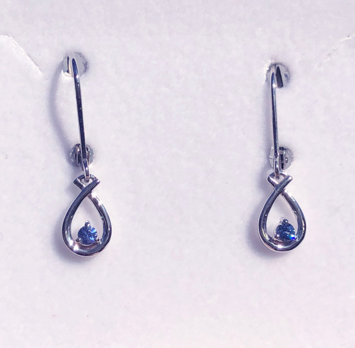 Montana Yogo Sapphire Round in Pear Shape Leverback Dangle Earrings Sterling Silver