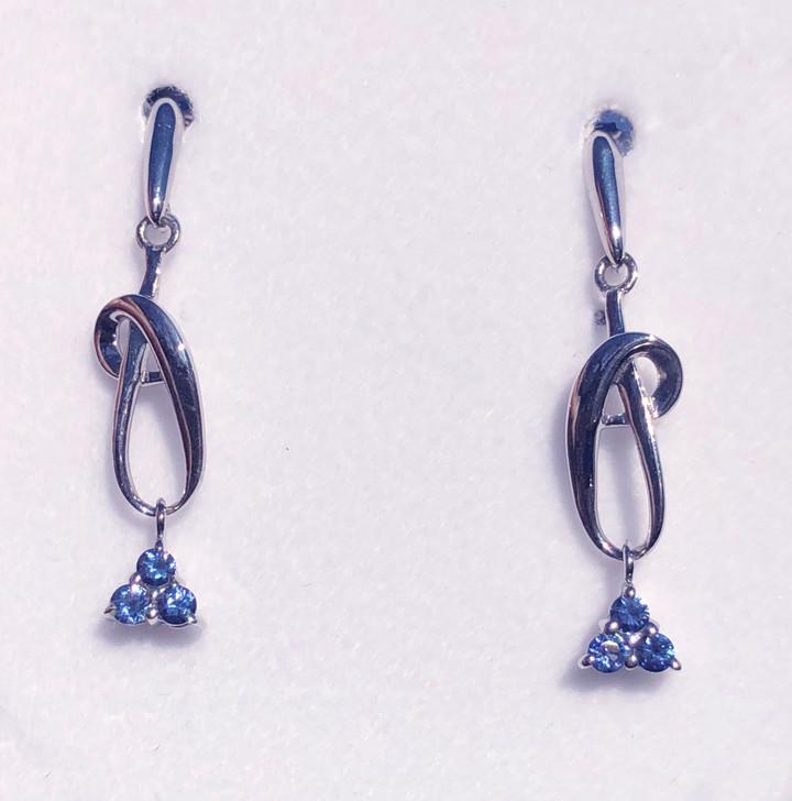 Montana Yogo Sapphire Tri Dangle Post Earrings Sterling Silver