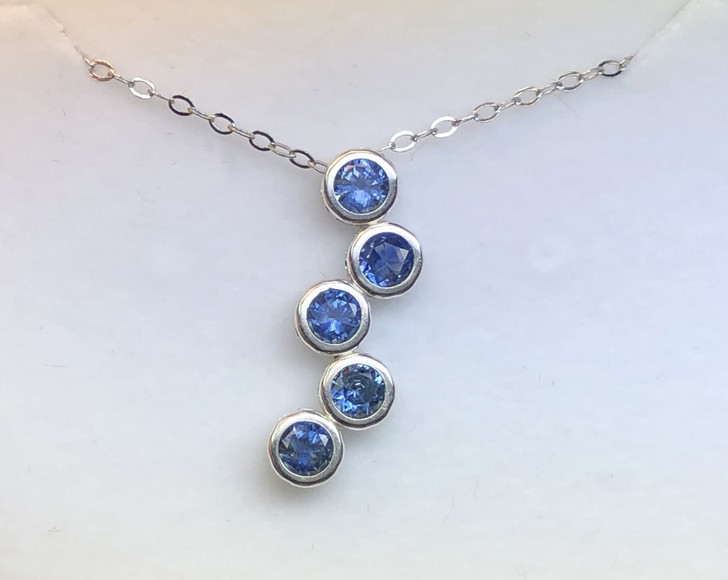 Montana Sapphire Bubble 5 Stone Bezel Pendant in Sterling Silver