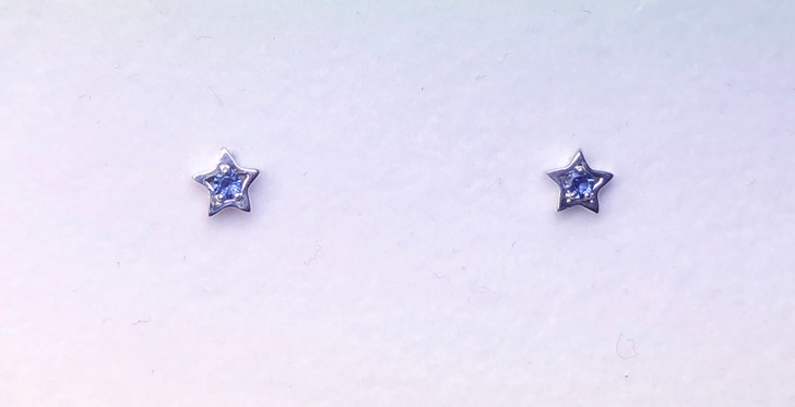 Montana Yogo Sapphire Star Earrings Sterling Silver